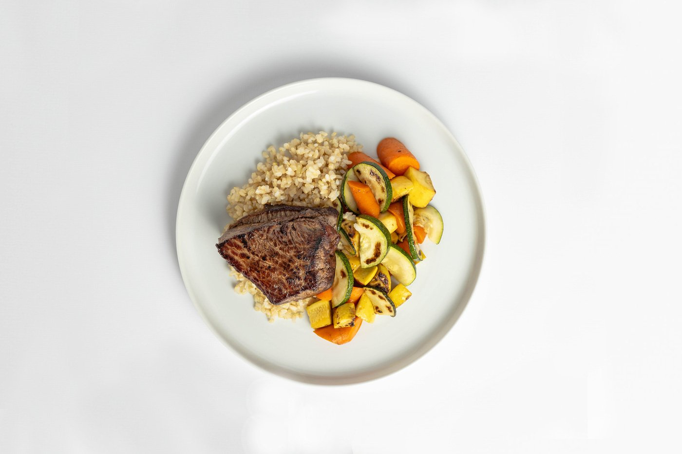 Flat Iron Steak, Brown Rice, Mixed Vegetables Meal Product Image