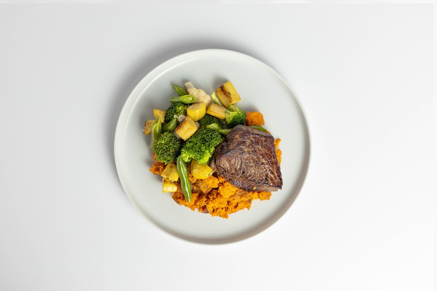 Flat Iron Steak, Sweet Potato, Mixed Vegetables Meal Product Image
