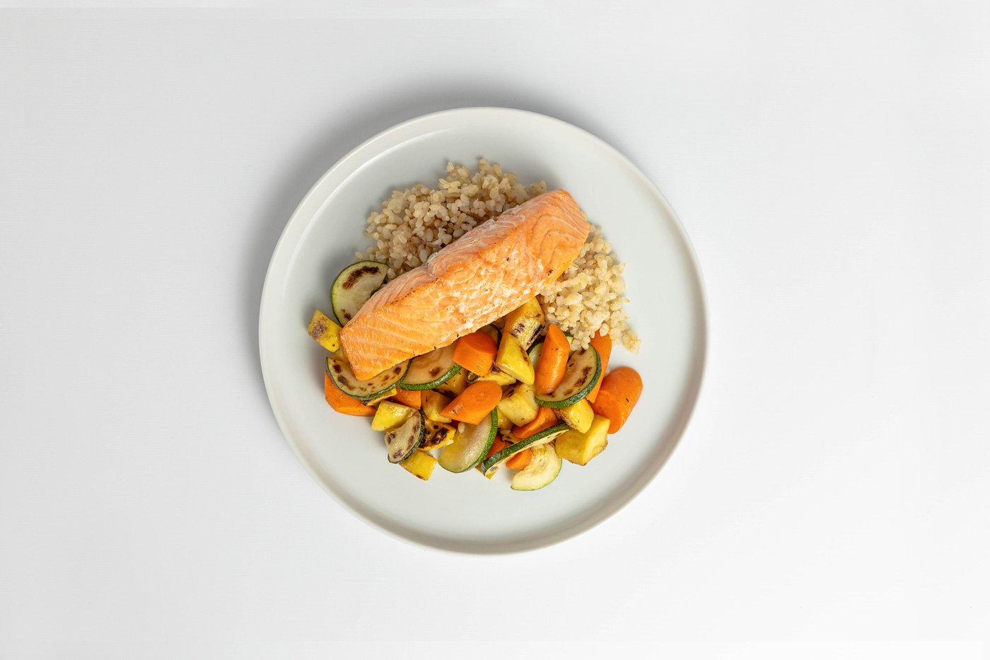 Salmon, Brown Rice, Mixed Vegetables Meal Product Image