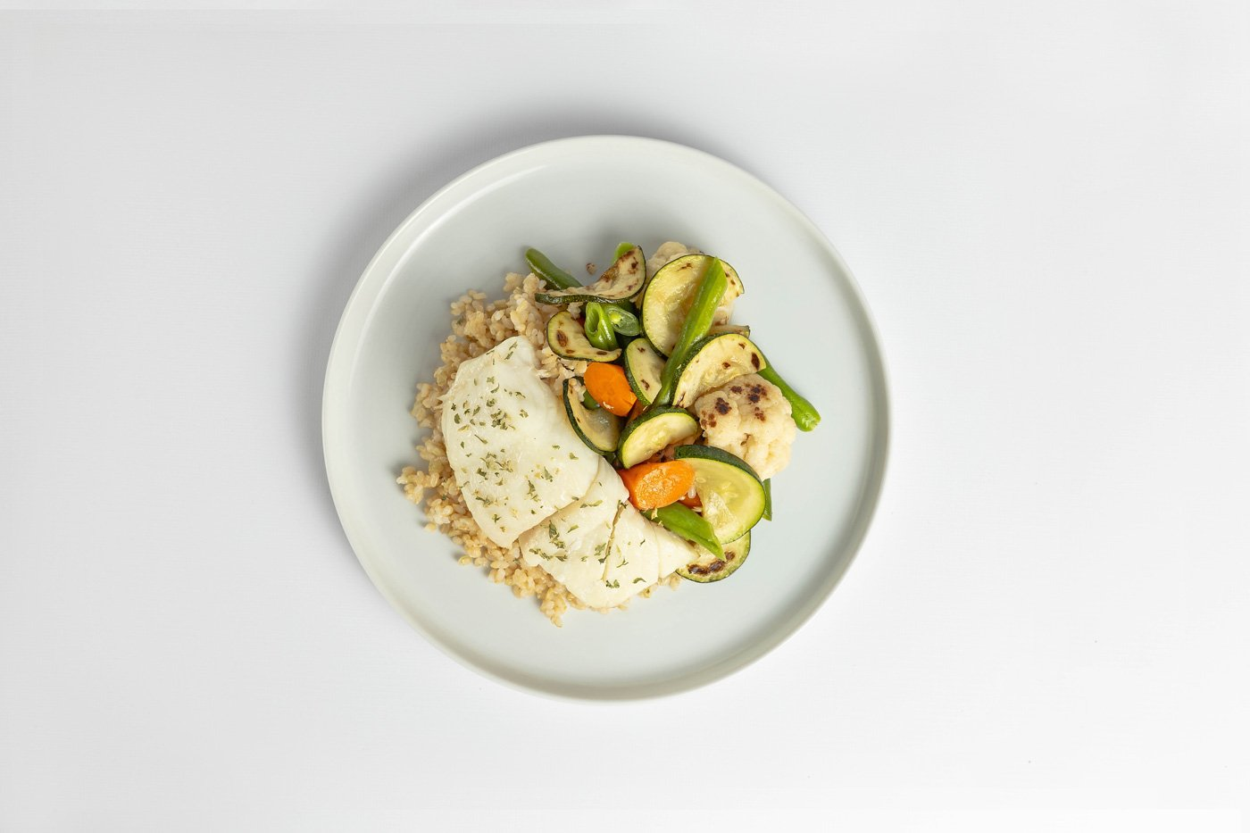 Basa, Brown Rice, Mixed Vegetables Meal Product Image