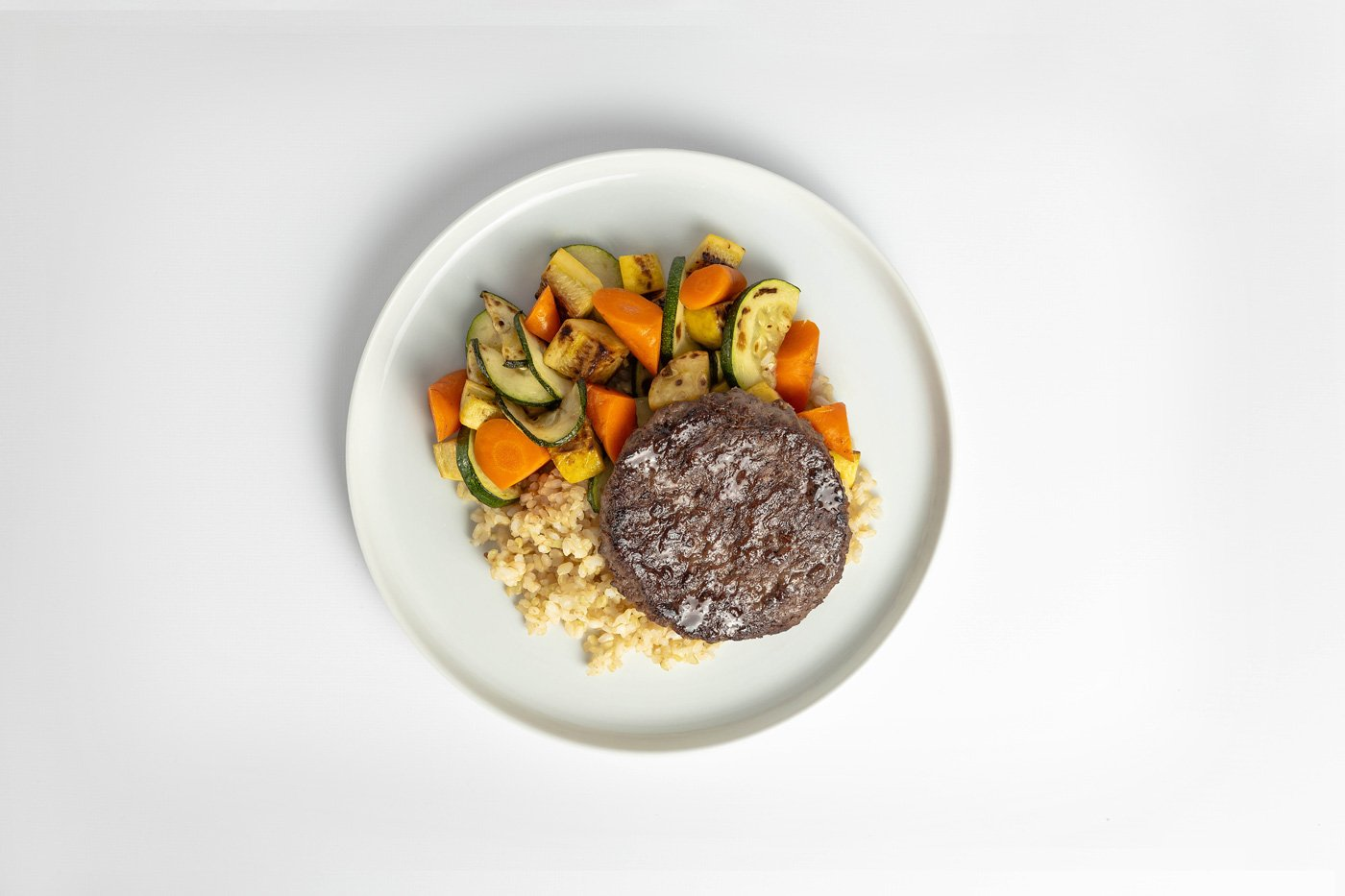 Beef Patty, Brown Rice, Mixed Vegetables Meal Product Image