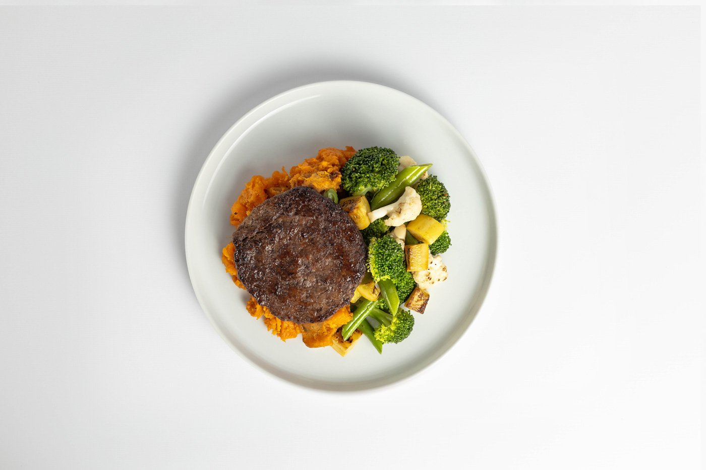 Beef Patty, Sweet Potato, Mixed Vegetables Meal Product Image